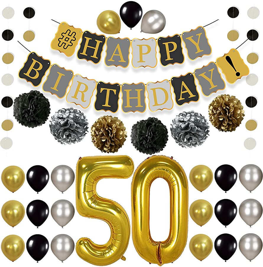 KatchOn 50th Birthday Decorations Kit -  Gold Black and Silver Paper PomPoms, Tassel, Balloons, Circle Garland, Happy Birthday Banner Gold and Black, Number 50 for 50th Birthday Party Supplies, Large