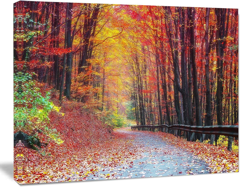 Designart PT139412012 Road in Beautiful Autumn Forestmodern Forest Canvas Art, , 20x12