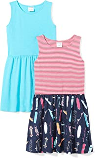 Amazon Brand - Spotted Zebra Girls' Toddler & Kids 2-Pack Knit Sleeveless Fit and Flare Dresses