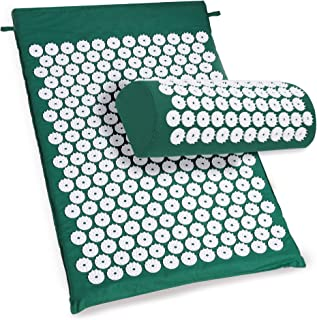 ACEVIVI Back Neck Acupressure Yoga Mat Pillow Set / Bed of Nails for Massage / Wellness / Relaxation and Tension Release Spike (Green)