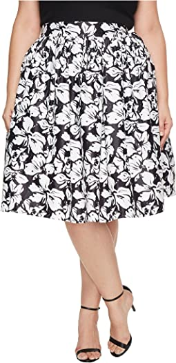 Unique Vintage - Plus Size High Waist Swing Skirt