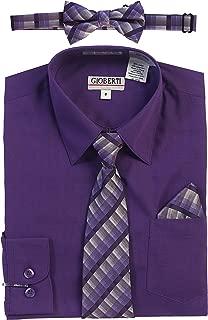 Boy's Long Sleeve Dress Shirt + Plaid Tie, Bow Tie and Hanky