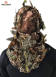 Arcturus Camo 3D Leaf Ghillie Camouflage Face Mask. Leafy, Full Coverage, Breathable Hunting Mask with Customizable Fit. Great for Turkey Hunting!