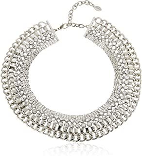 Mestige Women Brass Moonlit Romance Statement Necklace, 43 cm - NMS472 (Silver)
