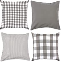 DII Gingham/Check Pillow Cover, 18x18, Assorted Gray/White