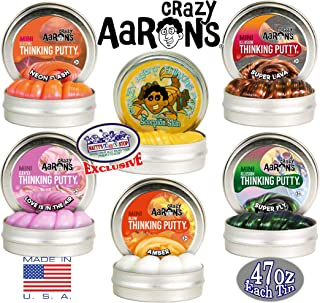 Crazy Aaron's Thinking Putty Mini Tin Gift Set Bundle (Sample Set 3) with Super Fly, Neon Flash, Super Lava, Amber, Love Air & Exclusive Scorpion Skin Glow in The Dark - 6 Pack