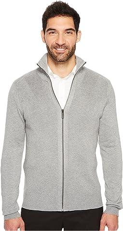 Perry Ellis - Solid Rib Full Zip Sweater
