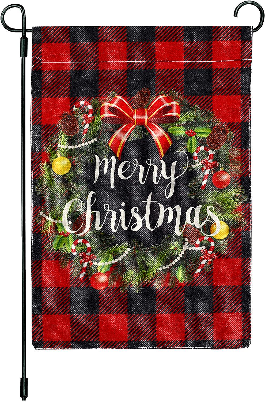 Omaha Mall CYNOSA Christmas Max 71% OFF Wreath Garden Flag C Plaid Buffalo Merry Check