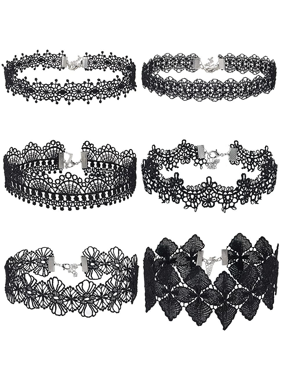 Mudder Choker Necklace Black Choker Lace Choker Gothic Necklace for Women Girls, Black, 6 Pieces