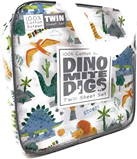Dinomite Digs 100% Cotton Sateen Colorful Dinosaurs in Tropical Forest 3-PC Twin Sheet Set