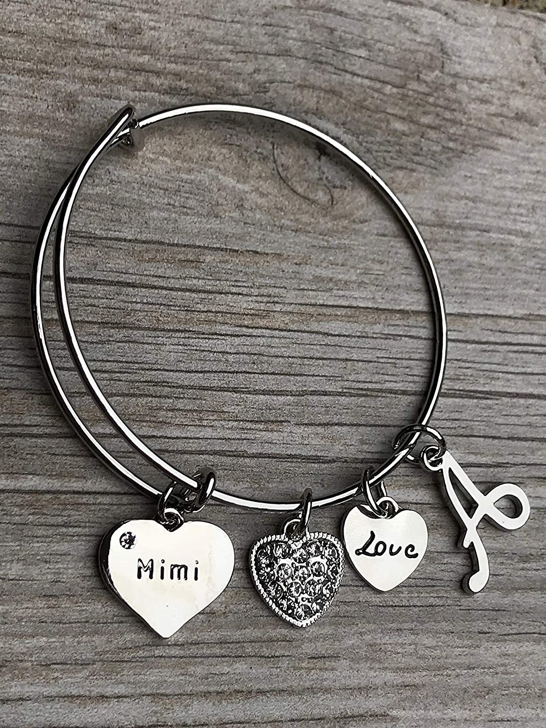 Personalized Mimi Bangle Bracelet Los Angeles Mall with Ranking TOP2 Letter Charm Custom