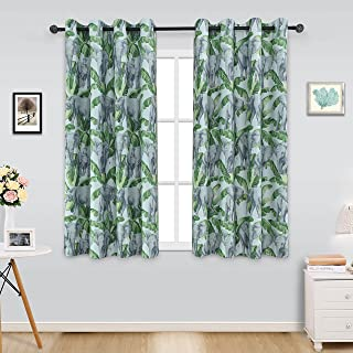 ITEXTILOGIE Blackout Grommet Print Curtains for Bedroom|Room Darkening Thermal Insulated Curtain Noise Reducing Panels Window Draperies for living room(2 Panels,53x63inch Each Panel,Elephant)
