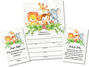 25 Sweet Safari Jungle Baby Shower Invitations and Envelopes (Large Size 5X7 inches), 25 Diaper Raffle Tickets, 25 Baby Sh...