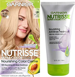 Garnier Nutrisse Ultra Color Hair Color & Anti-Brass Treatment, LB1 Ultra Light Cool Blonde, 2 count