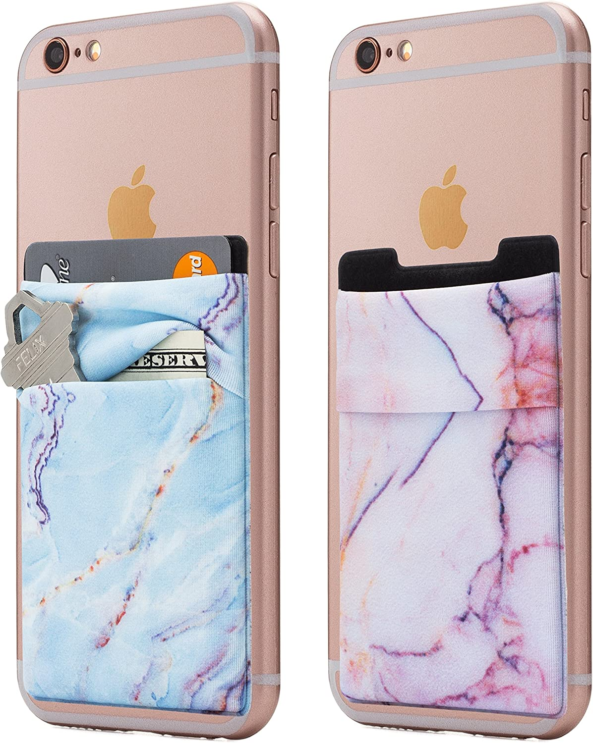 (Two) Stretchy Marble Cell Phone Stick On Wallet Card Holder Phone Pocket for iPhone, Android and All Smartphones. (Blue&Pink)