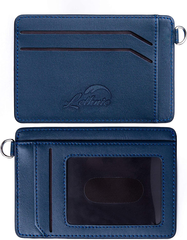 Lethnic Mini Keychain Wallet – Minimalist Slim Front Pocket Genuine Leather Card Holder with ID Window