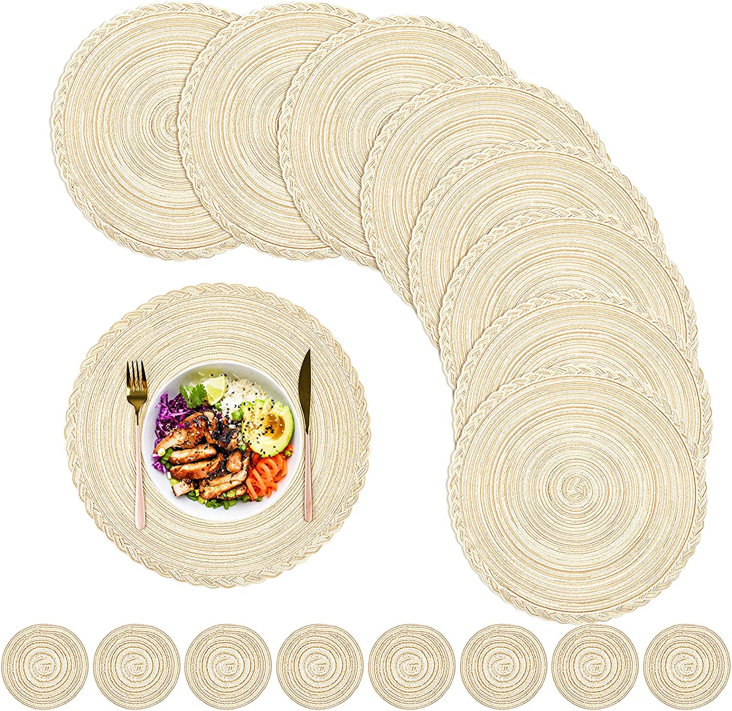 16 New product! New type PCS Round Braided Placemats Premium and Coasters Max 46% OFF Heat -