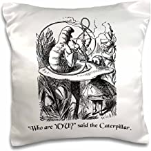3dRose Who are You-Smoking Caterpillar Quote from Alice in Wonderland-Pillow Case, 16 by 16 (pc_193796_1)