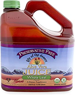 Lily Of The Desert, Whole Leaf Aloe Juice, Preservative Free, 1 gal