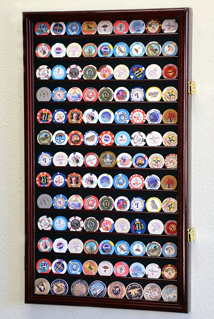 117 L Casino Chip Coin Display Case Cabinet Chips Holder Wall Rack 98% UV Lockable, Cherry