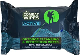 Combat Wipes ACTIVE Outdoor Wet Wipes | Extra Thick, Ultralight, Biodegradable, Body & Hand Cleansing/Refreshing Cloths fo...