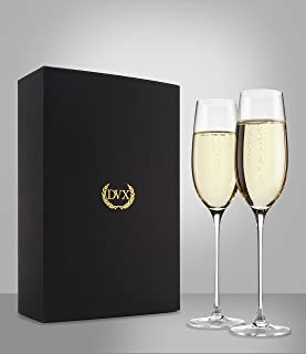 The Excelsior by DUX - Handmade, 100% Lead-Free, Crystal Champagne Flutes, Set of 2 Glasses, Elegant Gift Box