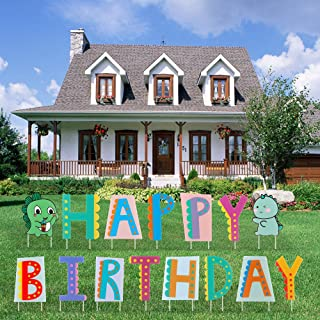 Happy Birthday Yard Signs with Cute Design Birthday Decorations Corrugated Yard Stake Signs Outdoor Decorations with Stake...