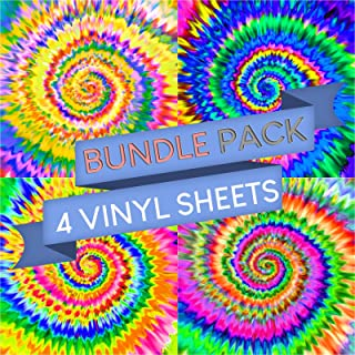 Vinyl Boutique Shop Tie Dye Vinyl Sheets Adhesive Patterned Vinyl Bundle Pack - Pack of 4
