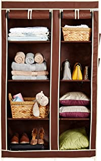 Amazon Brand - Solimo 2-Door Foldable Wardrobe, 8 Racks, Brown