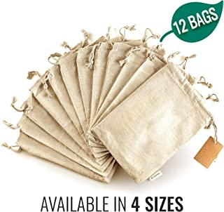 Organic Cotton Produce Bags - Reusable Muslin Storage Bags with Drawstrings - Medium 8x10 Inch - Canvas Bags - Biodegradable Fabric Bags - Snack Bags - Cloth Bags 12 Pcs by Leafico