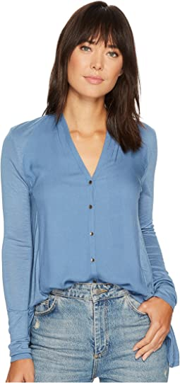 Lucky Brand - Button Down Woven Mix Top