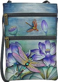 Anuschka Women's Genuine Leather Hand Painted Double Zip Travel Crossbody Bag