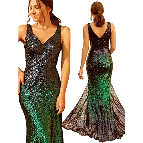 915715d9 Ever Pretty Women's V Neck Sparkling Gradual Sequin Mermaid Evening Dress  Prom Dress 07001