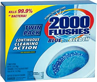 2000 Flushes 208086 Blue Plus Bleach Antibacterial Automatic Toilet Bowl Cleaner 3.5 OZ Twin Pack (Pack of 1)
