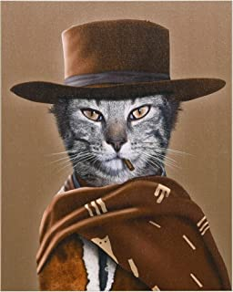 Empire Art Direct Pets Rock Western Graphic Wrapped Cat Canvas Wall Art, 20