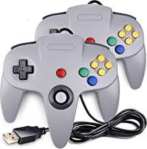 [USB Version] 2 Pack Classic N64 Controller, iNNEXT N64 Wired USB PC Game pad Joystick, N64 Bit USB Wired Game Stick for Windows PC MAC Linux Raspberry Pi 3 Genesis Higan (Grey)