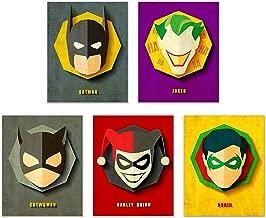 "Batman - Marvel Comics Superheros Set of 5: Batman, Joker, Catwoman, Harley Quinn, and Robin - Unframed Posters (8""x10"")"