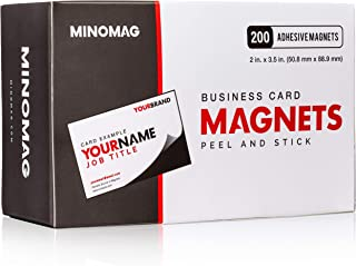 Minomag Business Card Magnets   Peel and Stick Adhesive Magnetic Backings (Box of 200, 3.5 inch x 2 inch Magnets)