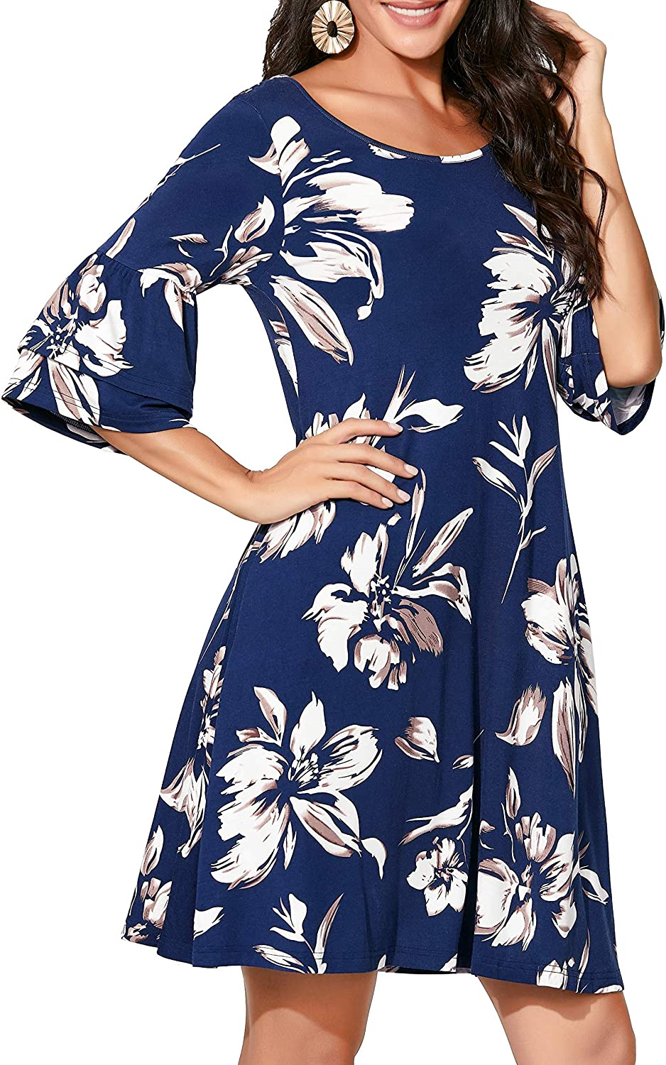 IUGA Summer Dresses for Women Loose Fit Comfy Short Sleeves Women Dresses with Pockets Fall T-Shirt Casual Dress
