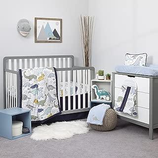 NoJo Dreamer Little Dinosaurs 8 Piece Nursery Crib Bedding Set, Navy Blue/Grey/White