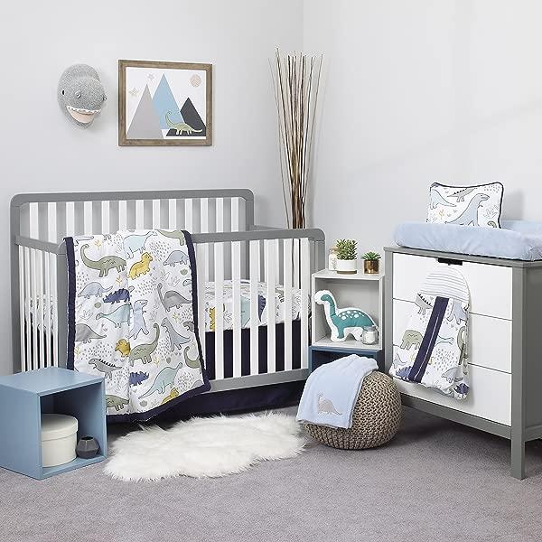 NoJo Dreamer 小恐龙 8 件托儿所婴儿床床上用品套装深蓝色灰色白色