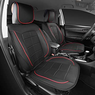 Motor Trend M410 2pc Front SeatWrap Leatherette Car Seat Covers-PU Leather Cushion Protector-2pc Set-Red Accent Piping on Black