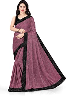 SOURBH Lycra Embellished Contrast Border Woven Saree For Women With Blouse Fabric