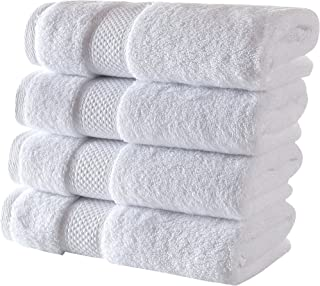 Bagno Milano Luxe Collection Hotel Spa Plush Towels Made in Turkey (White, 4 Pcs Hand Towel Set)