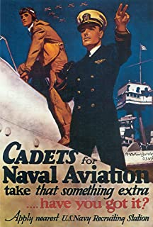 UpCrafts Studio Design American Propaganda Poster 11.7 x 16.5 - CADETS FOR NAVAL AVIATION - Navy Posters for wall, Military Decorations for Bedrooms, US Navy Wall Art for Living Room