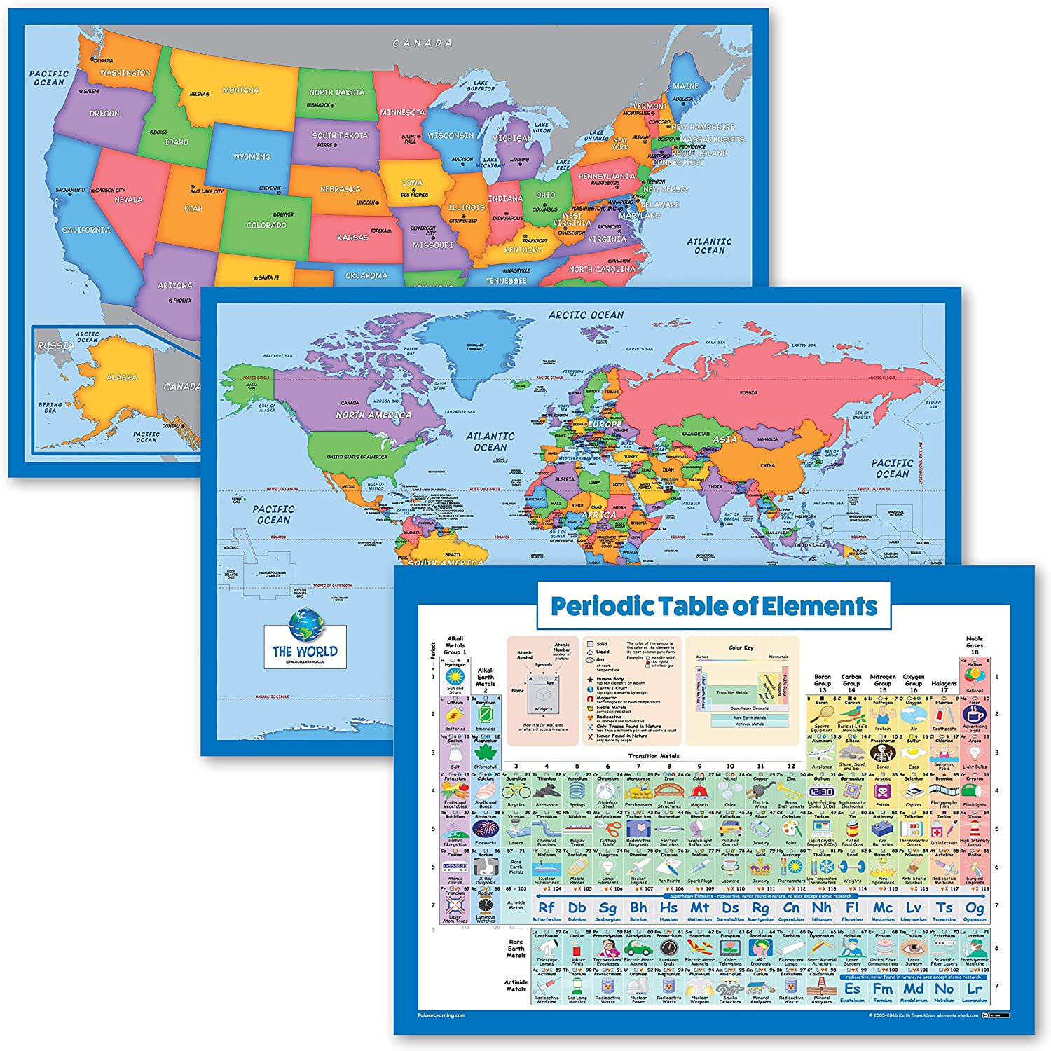 3 Pack - World Map USA for Outstanding Kids The Outlet ☆ Free Shipping + of Periodic El Table