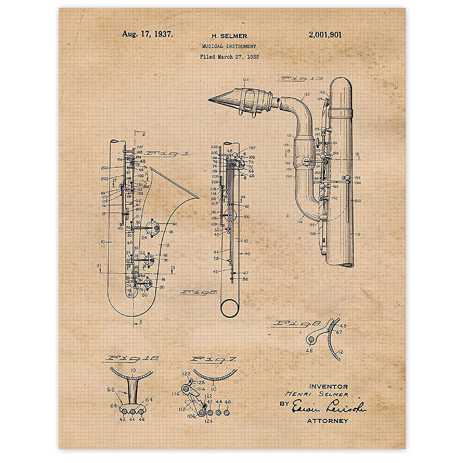Vintage Saxophone Instrument Patent Poster 1 Baltimore Mall Set Prints of OFFer 11x
