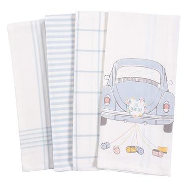 KAF Home Baker Lane Bridal Kitchen Dish Towel Set of 4, 100-Percent Cotton, 18 x 28-inch (Just Married Car)