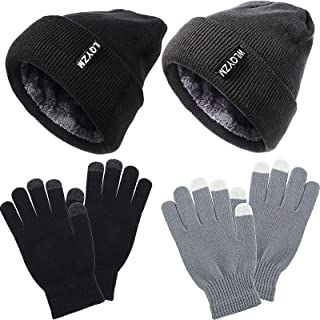4 Piece Set Winter Beanie Hat and Glove Set with Fleece Lining, Winter Hat and Gloves Set, Unisex Cap and Glove Set for Me...