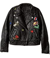 Blank NYC Kids - Patchwork Vegan Leather Moto Jacket in Mix and Match (Big Kids)